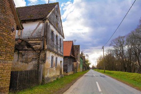 Abandoned buildings in the small village of Krapje in Sisak-Moslavina County in central Croatia