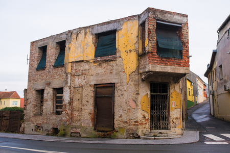 The Phoenix Monument in Vukovar, Vukovar-Srijem Country, Slavonia, eastern Croatia. This derelict building was damaged buring the Balkans War and has been left unrestored as a war memorial
