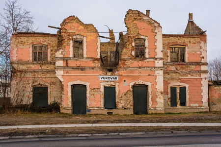 The old train station outside of Vukovar, Vukovar-Srijem Country, Slavonia, eastern Croatia. The building was severely damaged buring the Balkans War