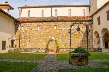 The courtyard of Abbazia di Rosazzo - Rosazzo Abbey - which dates back to around 1070 and is located in Friuli, north east Italy.