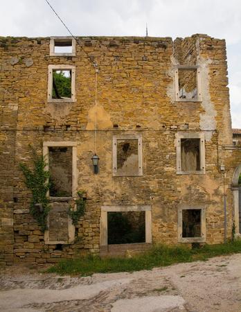 A building in the historic hill village of Oprtalj in Istria, Croatia Stock Photo