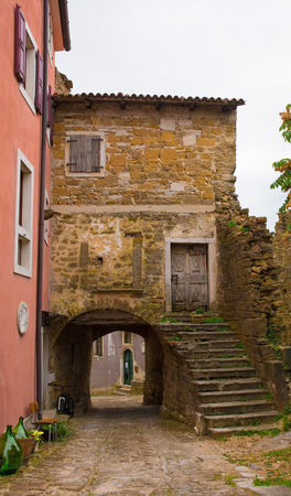 A street in the historic hill village of Oprtalj in Istria, Croatia
