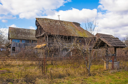 Abandoned traditional houses in the small village of Suvoj in Sisak-Moslavina County, central Croatia Stok Fotoğraf