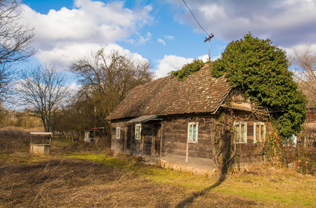 A traditional wooden house in the small village of Suvoj in Sisak-Moslavina County, central Croatia