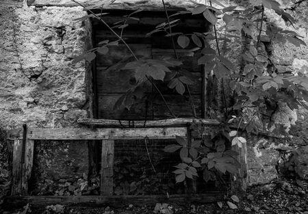 A door in a derelict stone house in the small historic hill village of Obenetto in Friuli-Venezia Giulia, north east Italy Imagens