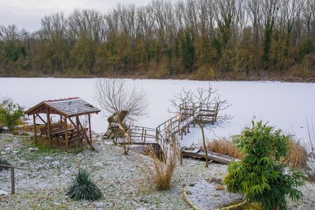 The Sava River covered in a fresh layer of snow as it flows through the small village of Cigoc in Sisak-Moslavina County in central Croatia