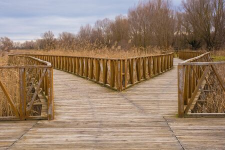 Wooden walkways in the Kopacki Rit Nature Reserve in winter in north east Croatia. Located by the Serbian border, close to the confluence of the Drava and Danube rivers, it is one of the largest and most important European wetlands.