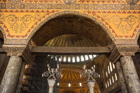 An arch in the upper gallery of Ayasofia or Hagia Sofia in Sultanahmet, Istanbul, Turkey. Built in 537 AD as a church, it was converted into a mosque in the mid-1400s. Scaffolding for long-running ren