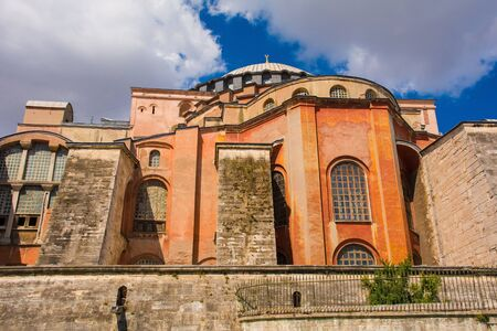 The exterior of  Ayasofia or Hagia Sofia in Sultanahmet, Istanbul, Turkey. Built in 537 AD as a church, it was converted into a mosque in the mid-1400s.