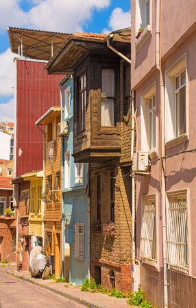 Traditional houses in the Balat area of Istanbul, Turkey Stok Fotoğraf