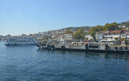 The harbour area of Kinaliada, one of the Princes' Islands, also called Adalar, in the Sea of Marmara off the coast of Istanbul