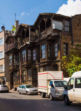Traditional old wooden and brick houses in the Balat district of Istanbul Editöryel