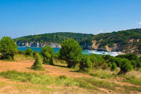 The Black Sea coast at Kilimli Bay, near Agva, Sile, in north west Turkey Archivio Fotografico