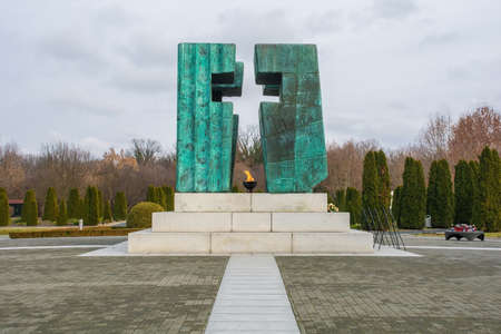 Vukovar, Croatia - January 1st 2019. Eternal Flame memorial for the casualties of the Homeland War or the Croatian War of Independence in the Vukovar Memorial Cemetery