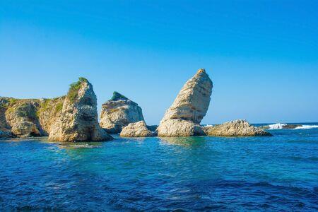 Islands off the Black Sea coast at Kilimli Bay, near Agva, Sile, in north west Turkey