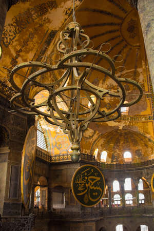 Ayasofia or Hagia Sofia in Sultanahmet, Istanbul, Turkey. Built in 537 AD as a church, it was converted into a mosque in the mid-1400s. Taken from the upper gallery