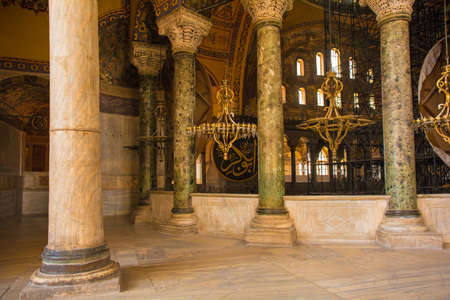 The interior of Ayasofia or Hagia Sofia in Sultanahmet, Istanbul, Turkey, taken from the upper gallery. Built in 537 AD as a church, it was converted into a mosque in the mid-1400s. Editorial