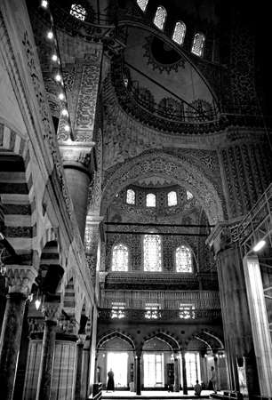 The interior of the historic 17th century Sultan Ahmet mosque, also known as the Blue Mosque, in Istanbul, Turkey Editorial