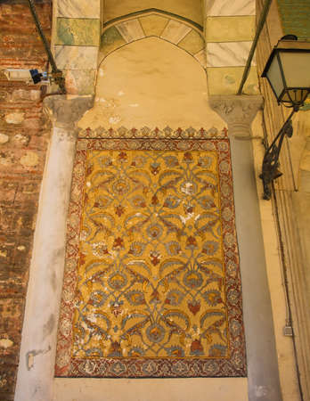 A painted wall in the portico of the sixth century Hagia Eirene, also called Hagia Irene and Aya Irini, a Greek Eastern Orthodox church located in the outer courtyard of Topkapı Palace, Istanbul, Turkey
