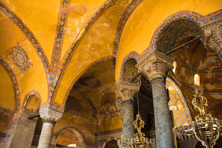 the upper gallery in Ayasofia or Hagia Sofia in Sultanahmet, Istanbul, Turkey. Built in 537 AD as a church, it was converted into a mosque in the mid-1400s.