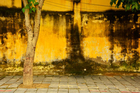 A yellow wall on an old historic building in the listed central Vietnamese town of Hoi An