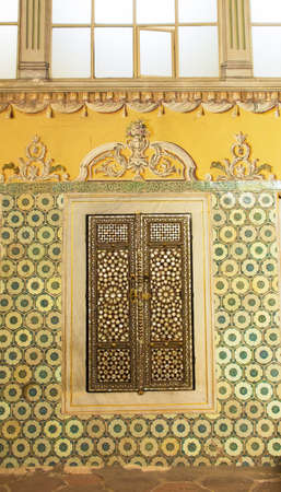 A wall and shuttered windown in the Queen Mother Apartment in the Harem of Topkapi Palace in Istanbul, Turkey