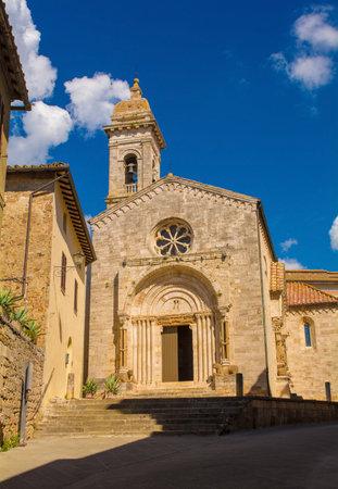 The Collegiata dei Santi Quirico e Giulitta in the historic medieval village of San Quirico D'Orcia, Siena Province, Tuscany, Italy