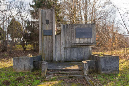 Batinjani, Croatia - January 2nd 2019. A memorial to the casualties of the Homeland War or Croatian War of Independence in the village of Batinjani near Dulovac in Bjelovar-Bilogora County, Slavonia, eastern Croatia