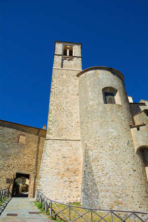 The 13th century St John the Baptist Church, Chiesa Parrocchiale di San Giovanni Battista in Italian, in the historic medieval village of Scansano, Grosseto Province, Tuscany, Italy