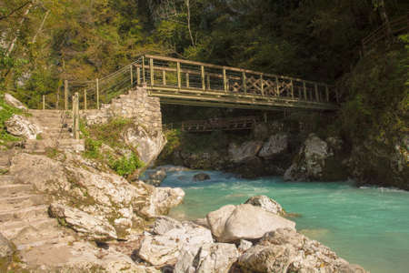 The lower Devil's Bridge crossing the Tolminka River which flows through Tolmin Gorge in the Triglav National Park, north western Slovenia