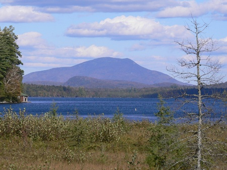 Blue Mountain view from Raquette Lake, New York Stock Photo
