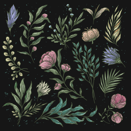 Flowers and leafs pattern theme with vintage color combination