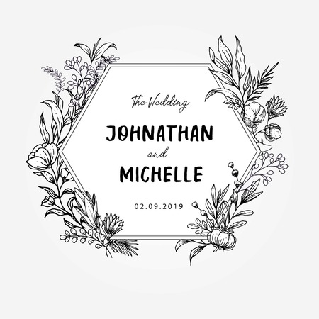 Wedding Template Title floral outlined theme