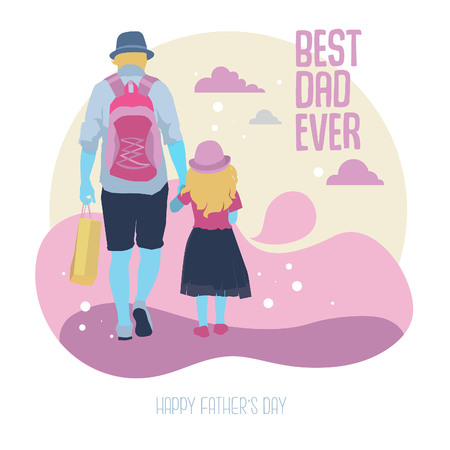 Illustration of father and his daughter to celebrate fathers day