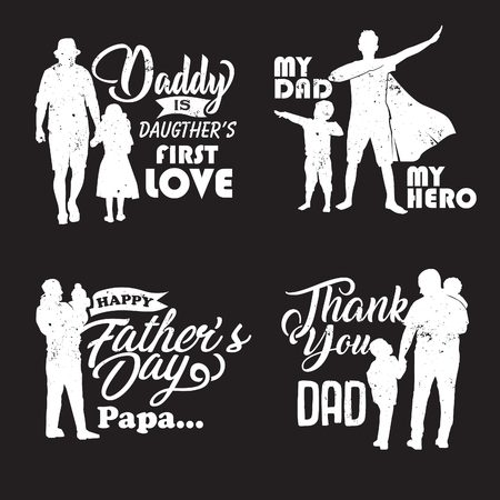 Fathers day illustration pack in silhouette with relevant words Stock Vector - 124370572