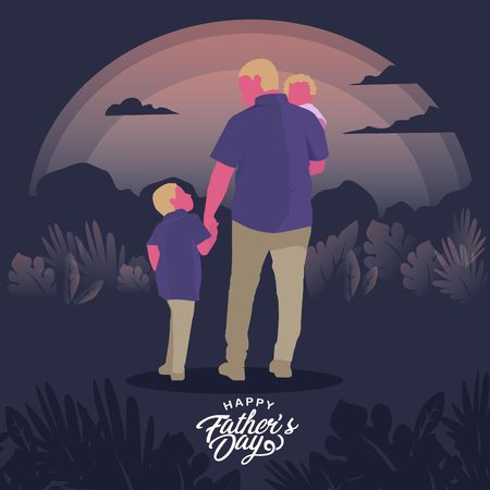 Illustration for Fathers Day Greeting Card