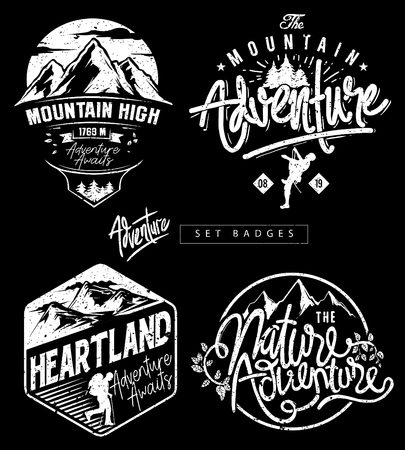 cool theme badge for adventure t-shirt prints