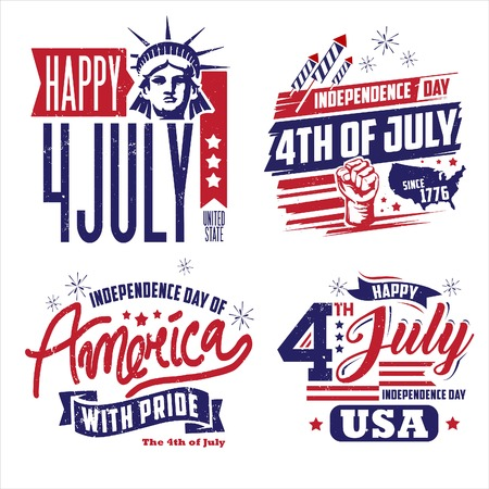 Graphic set with words of America Independence Day to Celebrate 4th of July