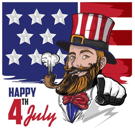 Illustration of Uncle Sam the icon of America with bearded and fun Character Illustration