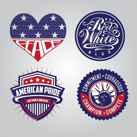 4 badges with america theme to celebrate independence day 4th of July Illustration