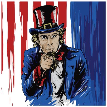 Painting way Illustration of Uncle Sam Character with the USA flag background