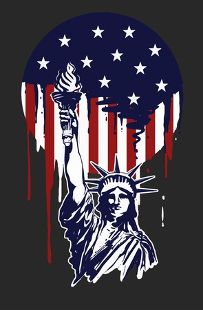 Liberty Illustration with painting effect and the america theme color, good for printing material to celebrate independence day