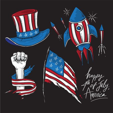 America Independence Day elements design for kids to celebrate