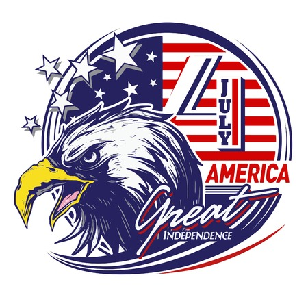Special Badge with eagle drawn for celebrate independence day of America