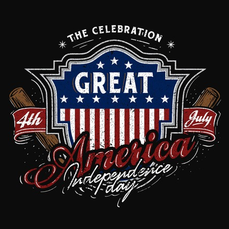 a Baseball badge look for 4th of July america Independence day celebration Illustration