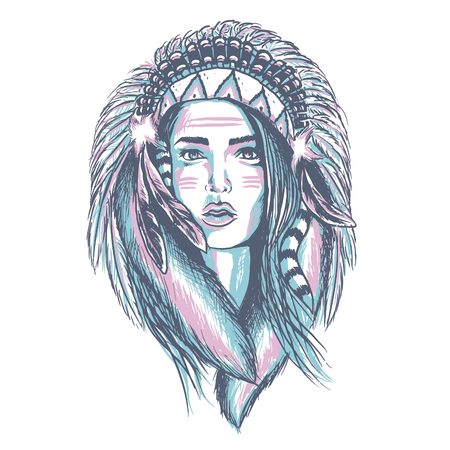 Lady sketch Illustration with apache Indian theme, looks good in t-shirt prints Illustration