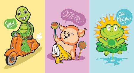 La ilustración de una tortuga montando una vespa, un cerdo que juega con dulces y la linda rana frente al sol, esta ilustración es para una camiseta para niños y un libro de cuentos. Ilustración de vector