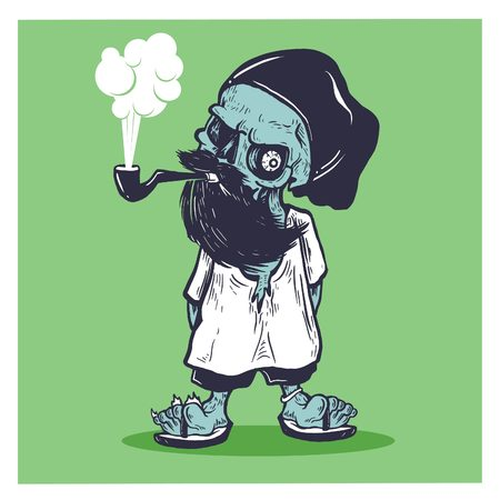 Smoked Bearded Skull character editable in vector illustration, recommended use for print t-shirt and poster
