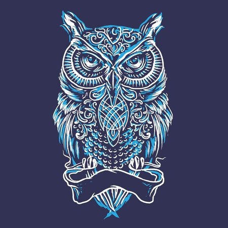 Sketch Line Art Owl Illustration Vectores