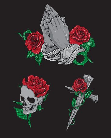 Rose and Skull Vector Pack, recommended for embroidery and also t-shirt prints, feel free to input some text